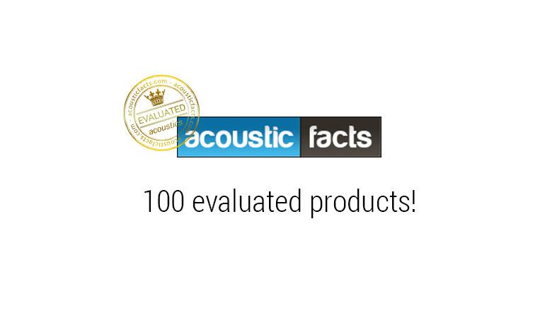 100 evaluated products on acousticfacts.com